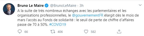 tweet bruno le maire s'exprimant sur l'accès au fonds de solidarité : perte du chiffre d'affaires de 70 à 50%